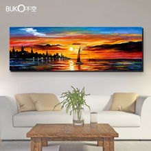100% Hand-painted landscape oil painting marine on canvas palette knife seaside Sunset paintings art wall decoration painting