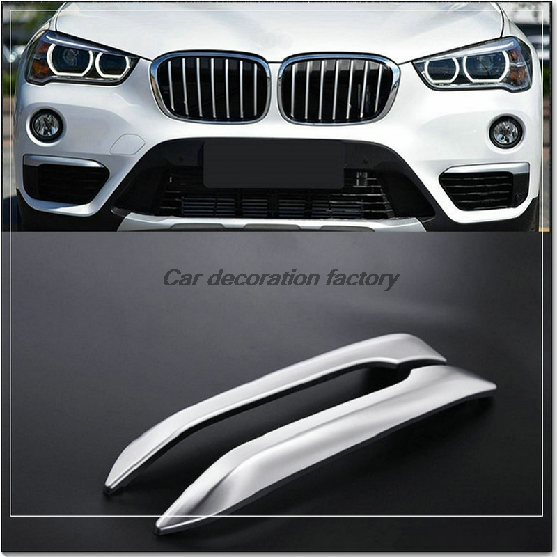 Car Styling Front Fog Light Lamp Eyebrow Cover Trim Decoration Sticker Fit For 2016 BMW X1 2pieces/lot