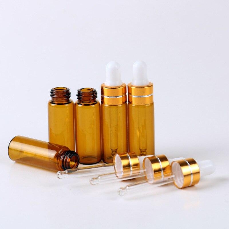 Güzellik ve Sağlık'ten Doldurulabilir Şişeler'de 100 adet/grup 5 ml Şeffaf Kahverengi Renk uçucu yağ Şişeleri Taşınabilir amber cam damlalık şişe Boş Kozmetik Kapları'da  Grup 3