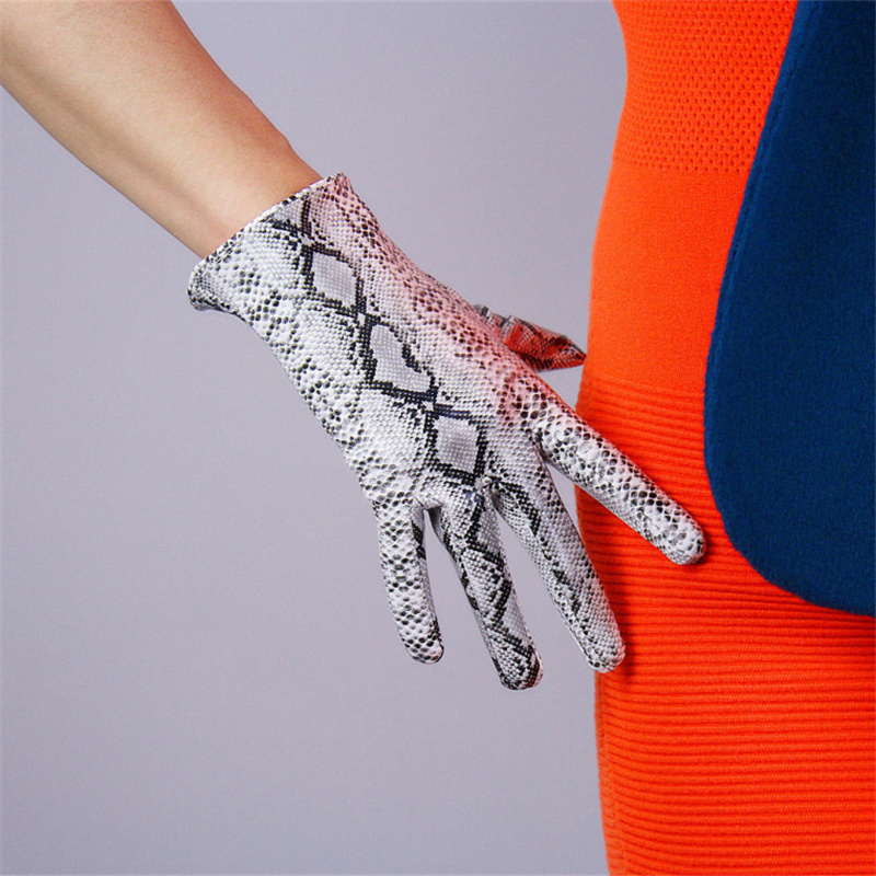 Fashion Ladies Gloves 21cm Patent Leather Ultra Short Simulation Leather PU Leather Gloves Bright Skin Python Pattern TB81 in Women 39 s Gloves from Apparel Accessories