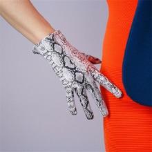 Fashion Ladies Gloves 21cm Patent Leather Ultra Short Simulation PU Bright Skin Python Pattern TB81