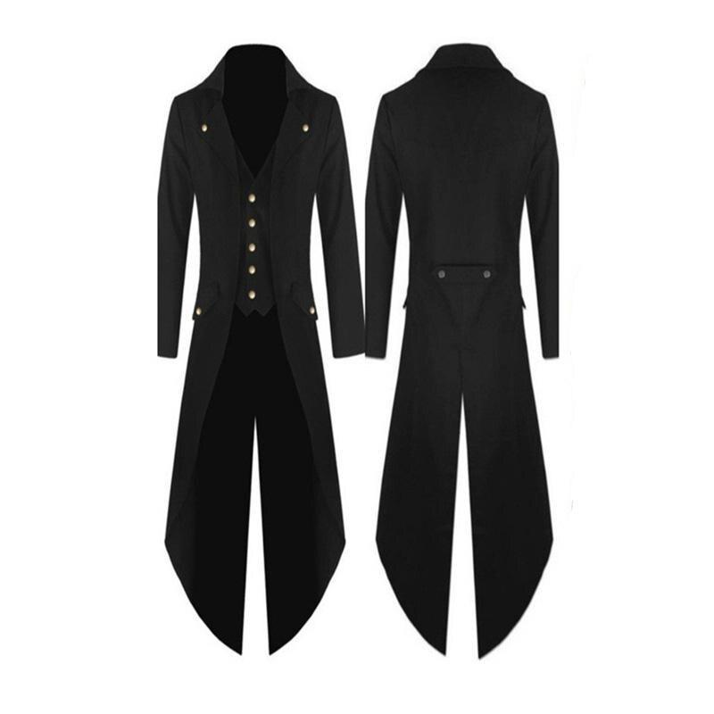 Hiking Jackets 2019 Fashion Fashion Men Jackets And Coats Black Long Tailcoat Jacket Gothic Frock Coat Uniform Costume Praty Outwear Hiking Jacket S10 Se26