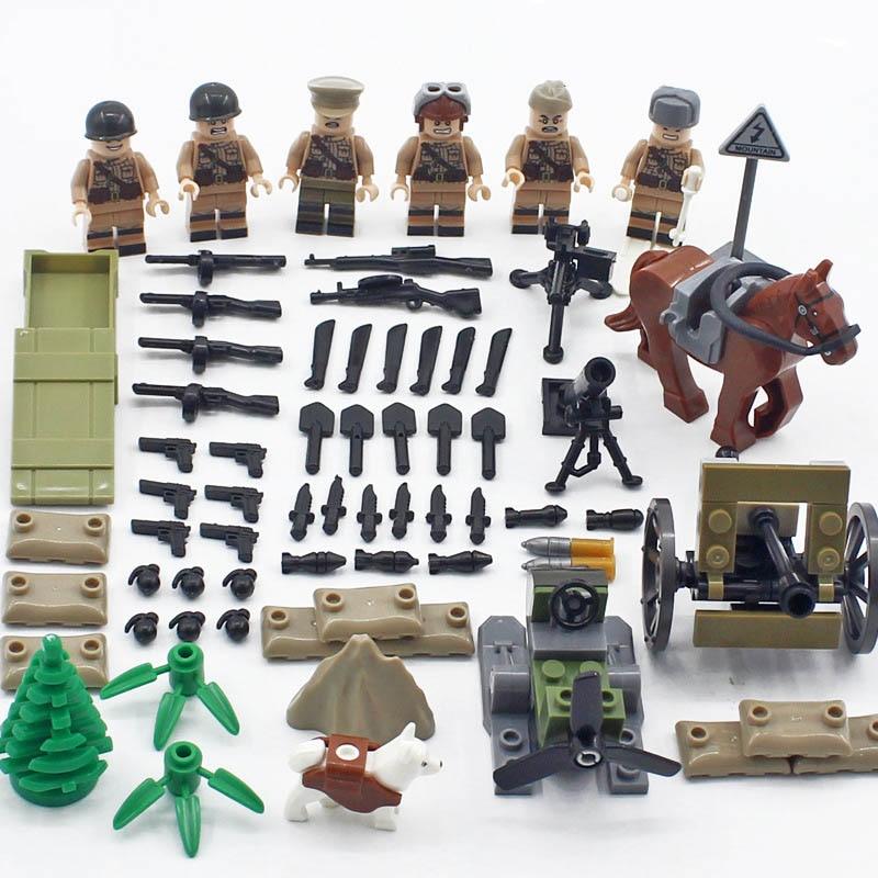 New LegoINGlys Military World War II Russia Army Eastern Line War Building Blocks Mini Artillery Figures Weapon Brick Toys Gift