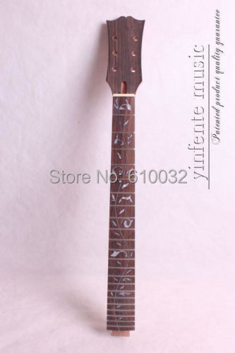 one high quality Unfinished electric guitar neck mahogany made rosewood fingerboard 012# black color 24 frets holt on one electric guitar neck mahogany wood and rosewood fingerboard 171