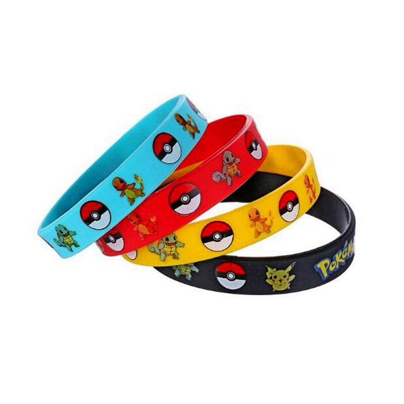 4pcs/set Cartoon Pokemon Pikachu Silicone Bracelet Birthday Party Wedding Decoration 4 Colors Kids Toys Gift Supplies Bracelets