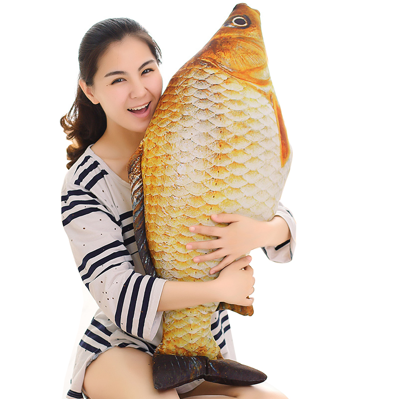 1pc 75cm Stuffed Pillow Cartoon 3D Simulation Plush toy Carp dolls Kawaii Fish Pillow Stuffed doll for children birthday gifts цена 2017