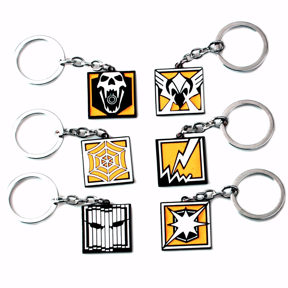 FPS Game Rainbow Six R6 Keychain Zinc Alloy Keyring Metal Pendant Men jewelry Fans Gift Blitz Bandit Vigil Jager Valktry Black
