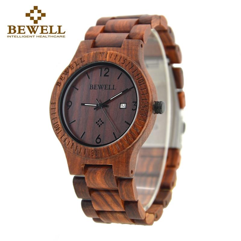 BEWELL 086B نوعية بسيطة مستديرة حالة ضوء تاريخ وظيفة رجل خشبي ووتش النظير كوارتز ساعة اليد الخشب خفيف الوزن