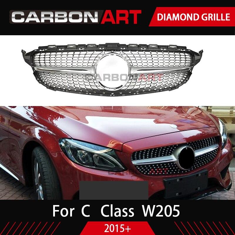W205 Diamond Grille New C Class Sport Bumper Parts For Mercedes 2015 2016 C180 C200 C350