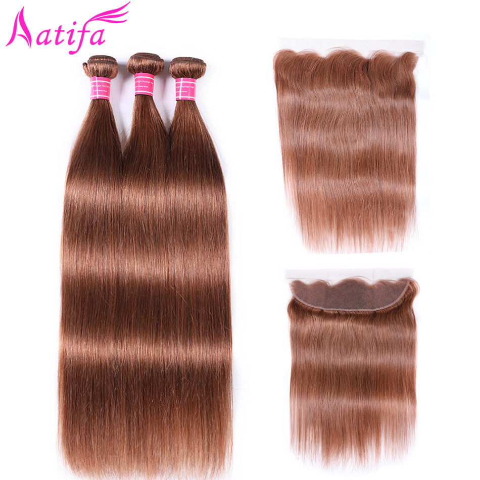 Aatifa Pre colored Brazilian Straight Hair Bundles With Frontal Remy Human Hair 3 Bundles With Closure