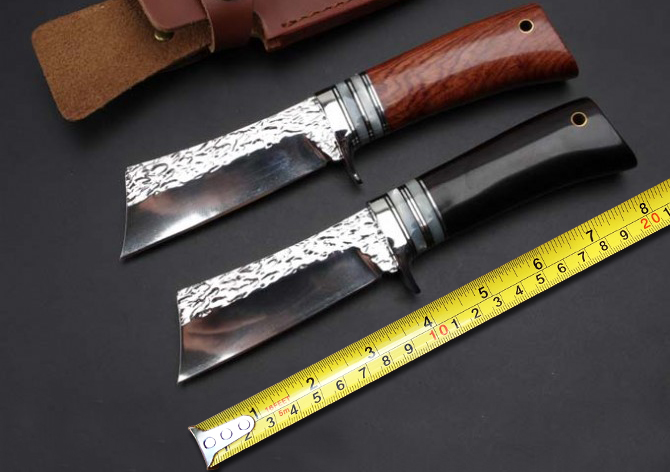 2 Options Handmade Forging Damascus Fixed font b Knives b font 9Cr18Mov Blade Wooden Handle Camping