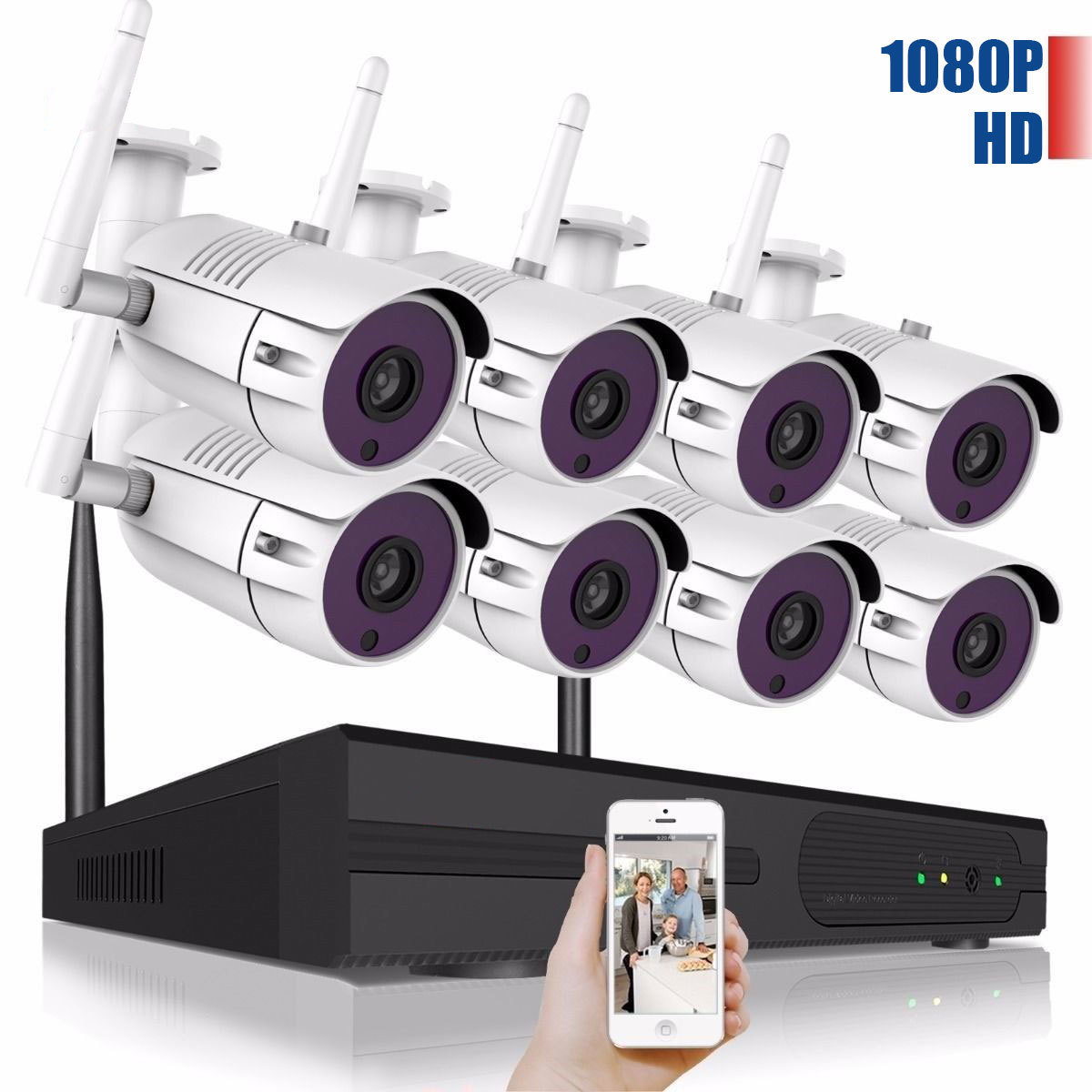 Full HD 1080P 8CH Wireless NVR CCTV Security System 2 0MP IP Camera 1080P Wifi