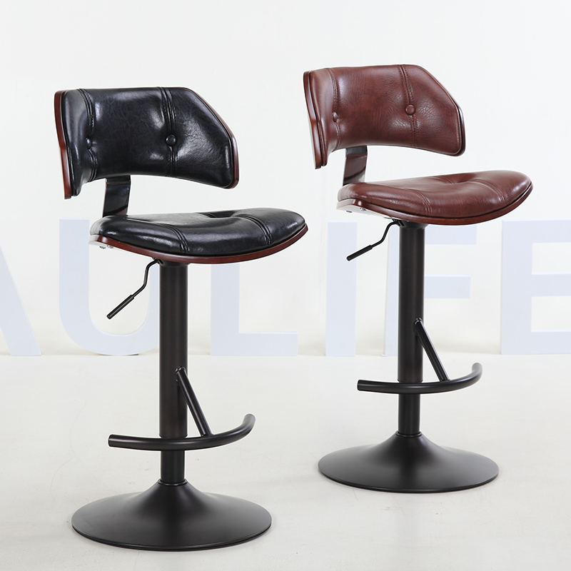 2019 Latest Design Retro Fashion Real Wood European High Bar Chair Lift Swivel Chair At The Front Desk Furniture Bar Furniture