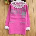 Novo 2017 Primavera Meninas Roupas de Inverno Crianças Camisola Crianças Suéter De Lã de Moda Outerwear Longos e Grossos Pulôveres Idade 4-14 T