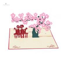купить PAPER SPIRITZ Wedding Invitation Customized 3D Laser Flower Lover Pop up Greeting Cards Postcards Birthday Valentine's Day Gifts дешево