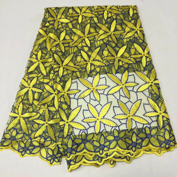 5 Yards/pc Hot sale yellow and blue flower embroidery french net lace african mesh lace fabric for dress BN78-5