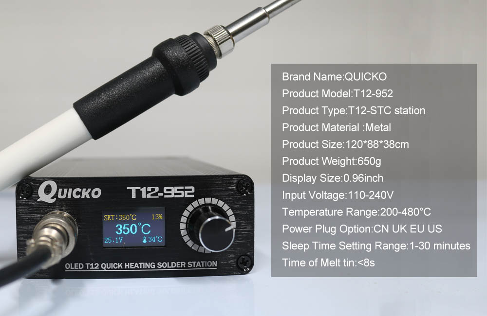 Image 3 - Quick Heating T12 soldering station electronic welding iron 2019 New version STC T12 OLED Digital Soldering Iron T12 952 QUICKOsoldering ironwelding irondigital soldering iron - AliExpress