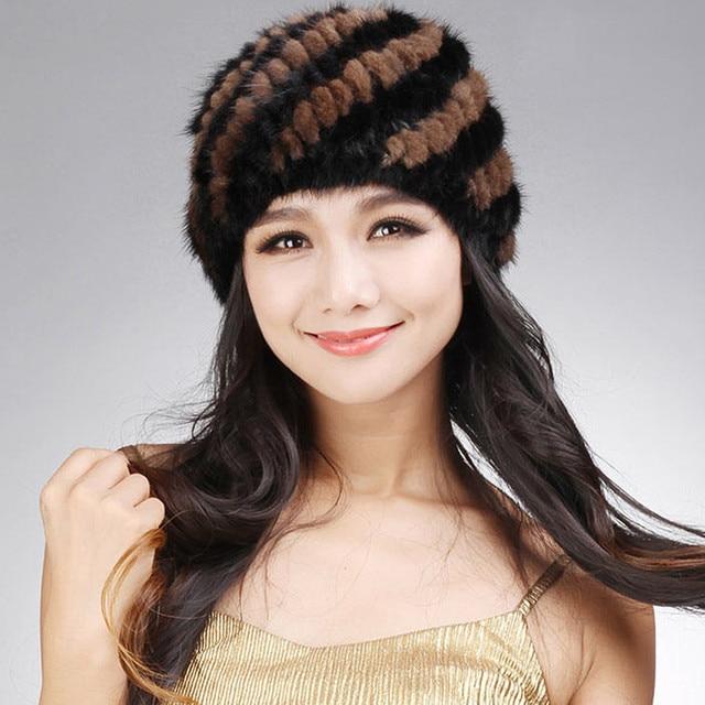 русский h323~winter подлинная норки шапочки, ананас снаряжены откр для женщин, оптовой шляпу связанный норки,шапки меховые