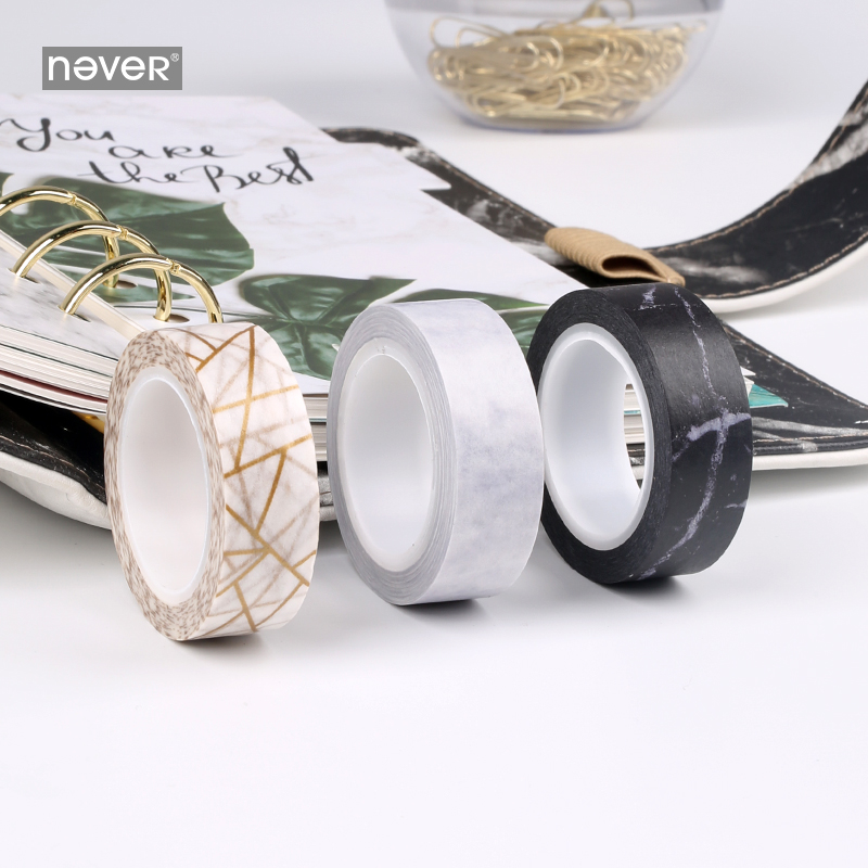 Never Marble Design Washi Paper Tape Set Planner Notebook And Journals Decorative Masking Tape School Office Supplies Stationery