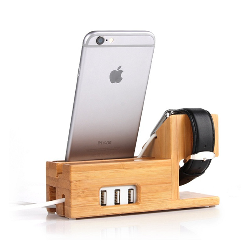 Bamboo Desktop Stand for Apple Watch Bracket Docking Holder Charger for Iphone 6s Ipad air mini Desktop Holder with USB Ports