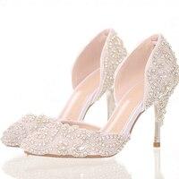 חלום יהלומים בהירים נעלי חתונה הכלה בסדר עם נעליים מחודדות עם עקבים גבוהים סנדלי נעלי גביש נעלי החתונה שלב