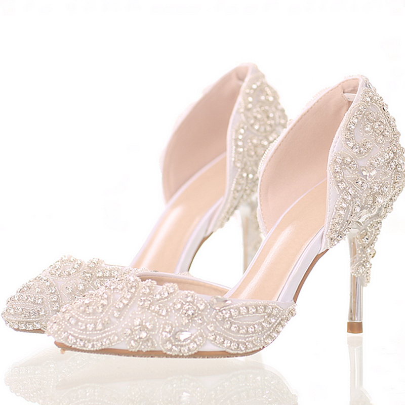 Dream bright diamond wedding shoes high-heeled shoes with pointed bride fine crystal shoes sandals stage wedding shoes 2017 fashion flowers diamond pendant bride shoes high with fine with photography single shoes for women s shoes wedding shoes