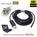 6 Светодиодов 5 ММ USB Эндоскоп Камеры IP67 Водонепроницаемый Змея Инспекции бороскоп Видео Трубки Трубы USB МИНИ Камера С 5 М Жесткая кабель