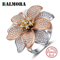 BALMORA 925 Sterling Silver Flower Zircon Rings for Women Lover Gift Korean Style Ring Elegant Fashion Jewelry Anillos JWSR1512