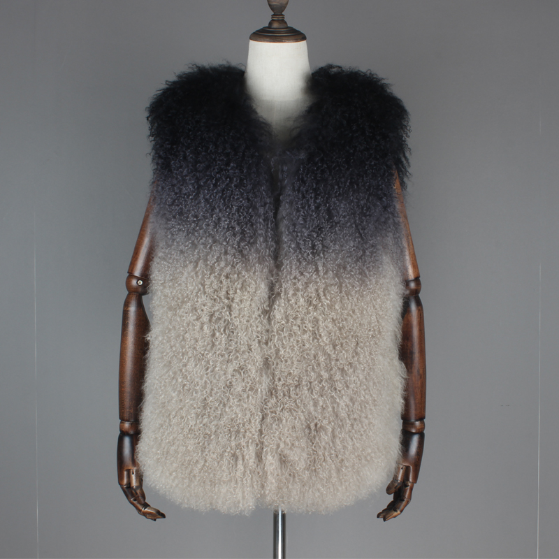 Women Real Sheep Wool Mongolian Fur Vest Winter Long Waistcoat Outwear Gradual Mongolia Sheep Fur Sleeveless Coat