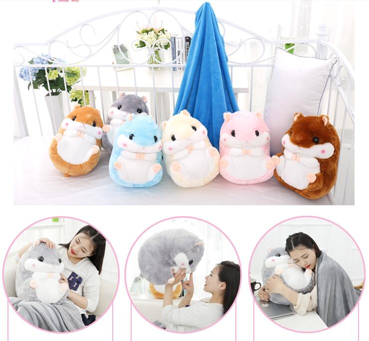 Peluche poupée 1 pc 50 cm hamster totoro écureuil repos chaud bureau coussin + couverture haute qualité peluche jouet romantique cadeau pour bébé