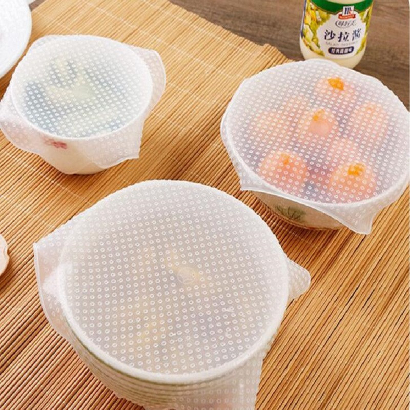 1/4pcs Food Fresh Keeping Wrap Kitchen Tools Reusable Silicone Food Wraps Seal Vacuum Cover Stretch Lid Kitchen Accessories