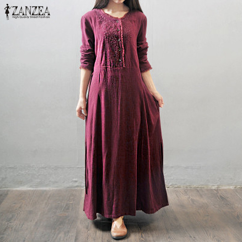 ZANZEA Autumn Dress 2016 Women Maxi Long Dress Long Sleeve ...