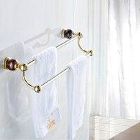 Vintage Jade Base Titanium Gold Towel Rack Plating Copper Polished Towel Rod 2 Layer Towel Bar