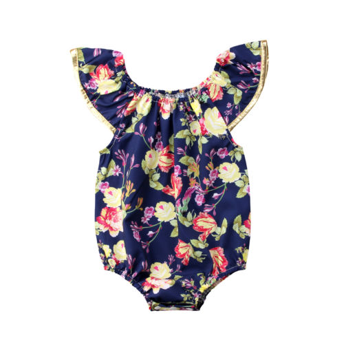 Newborn 0-24M Toddle Kids Baby Girls Floral Fly Sleeve Bodysuit Cotton Jumpsuit Clothes Sunsuit Set Summer Clothing Baby Girl