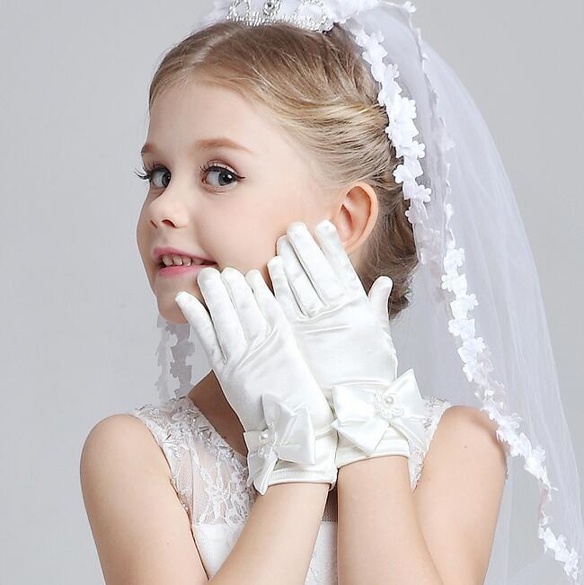 Children's Satin Elastic Gloves Girls Short White Gloves Kids Satin Long  Gloves R016