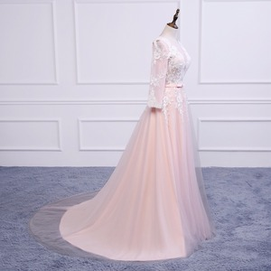 Image 4 - נובל וייס Robe דה Soiree אפליקציות סקסי ארוך ערב שמלות הכלה משתה אלגנטי משפט רכבת תפור לפי מידה לנשף שמלה