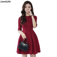Women Skater Dress 2018 Elegant Casual 3 4 Sleeve Mini Dress Spring Autumn Fit And Flare