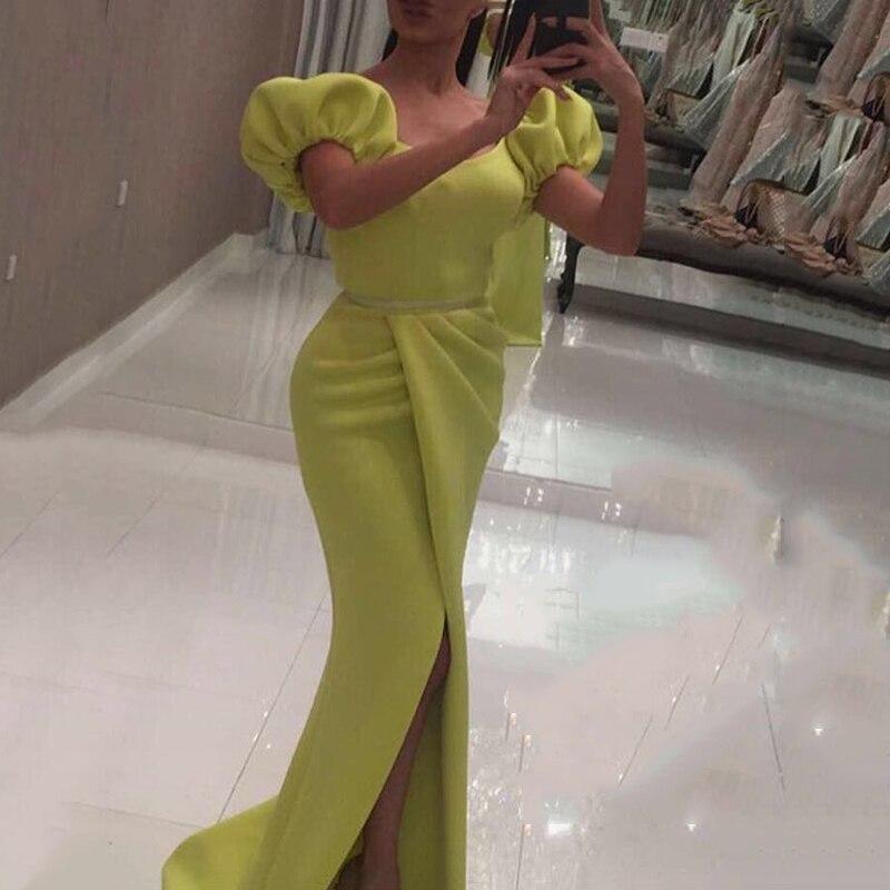 Belle licou cou longue sirène robes de bal herbe vert Satin Robe de soirée Robe de soirée Sexy côté Split robes de bal