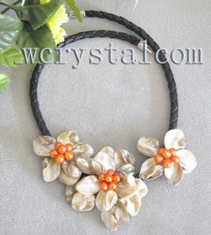 Baroque White Freshwater Shell Flower Orange Pearl Necklace