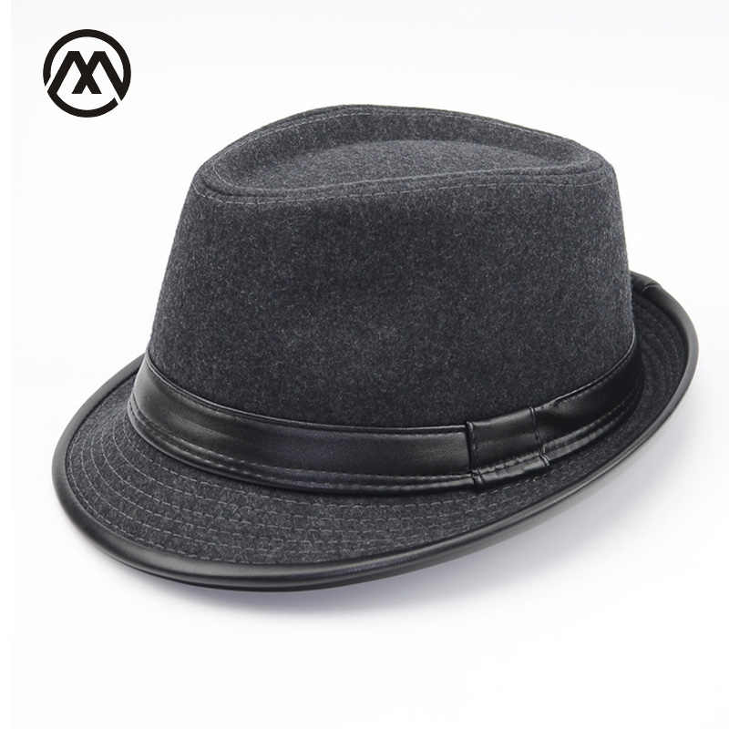 27ffa06bbda Autumn Winter Men Wool Felt Fedoras Hat for men leather flat top Jazz Caps  Wide Brim