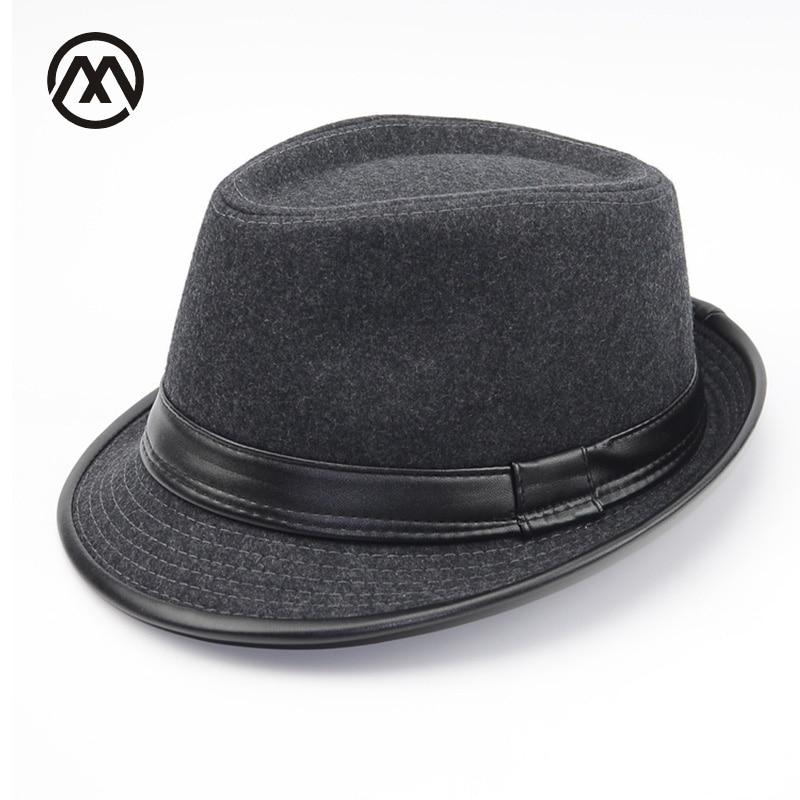 3d5672d23e1 Autumn Winter Men Wool Felt Fedoras Hat for men leather flat top Jazz Caps  Wide Brim men Fedora Hats Brief Style hombre chapeau