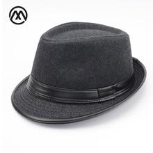 c4ef4d792ddfb Autumn Winter Men Wool Felt Fedoras Hat for men leather flat top Jazz Caps  Wide Brim