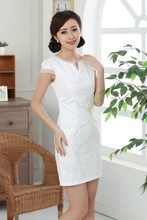 Shanghai Story embroidery Qipao Chinese traditional dress Women's Cheong-sam Dress Elegent Blend cotton Qipao 4 style