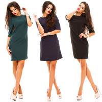 2017 Summer Europe And The United States Hot Selling Plus Size Women Dress Fashion Rear Button