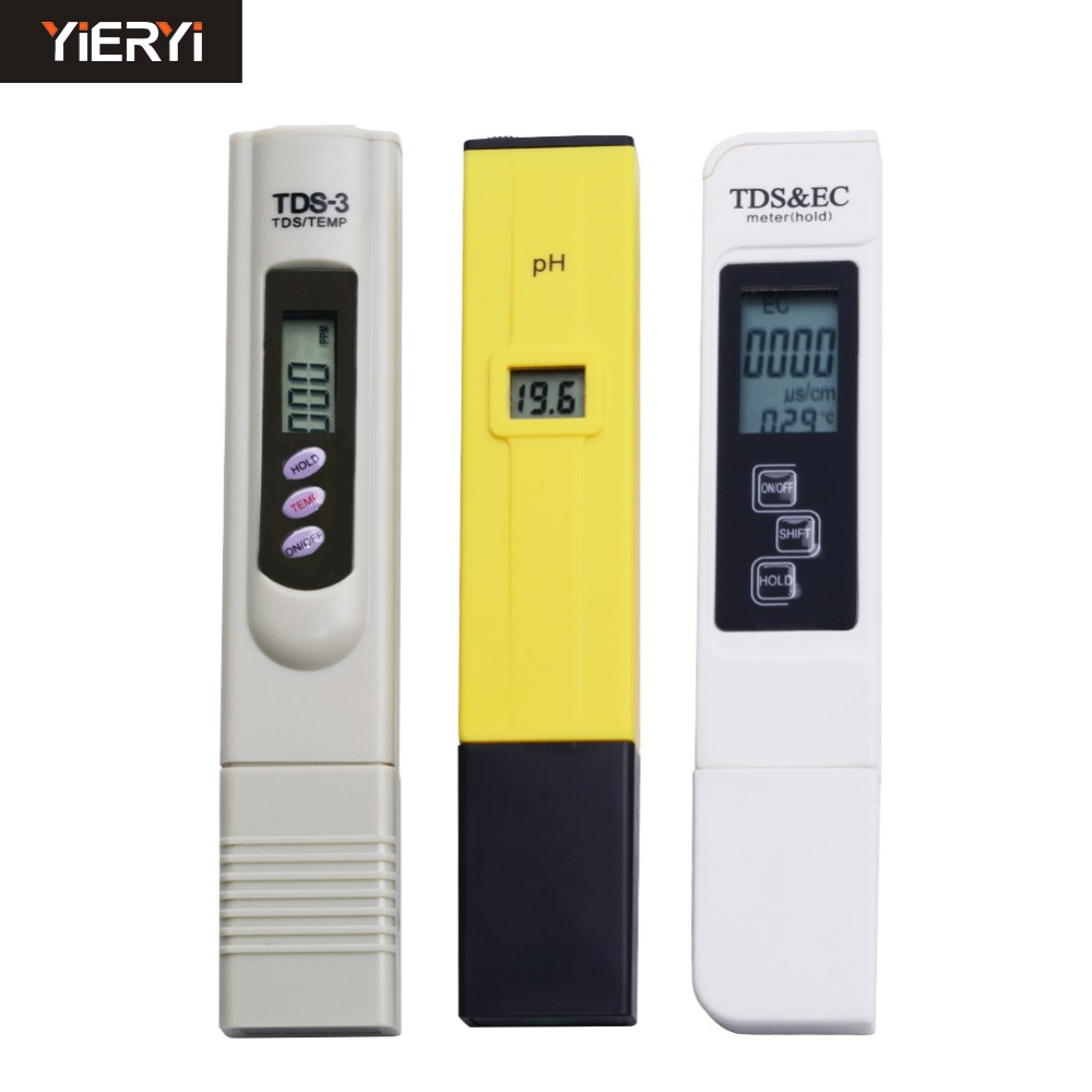 yieryi Digital TDS Meter + pH Meter + EC Meter Pocket Pen Aquarium Filter Water Quality Purity Tester 5pcs pocket digital pen type ph 990 meter tester water quality measure range ph 0 00 14 00ph for aquarium pool laboratory
