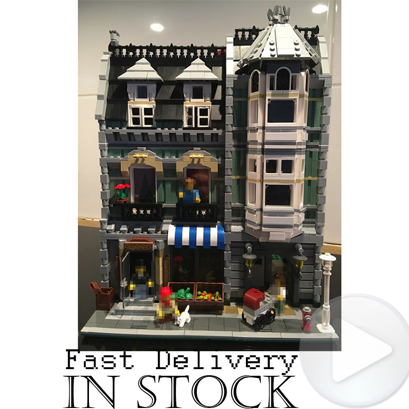 Lepin 15008 2462Pcs City Street Green Grocer Model Building Kits Blocks Bricks Compatible Educational toys For Children 10185 lepin 15008 new city street green grocer model building blocks bricks toy for child boy gift compatitive funny kit 10185 2462pcs