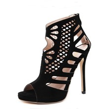 Sexy European American Runway Shoes Women Cut Out Caged Ankle Boots Summer Peep Toe Stiletto Gladiator Sandals Woman High Heels