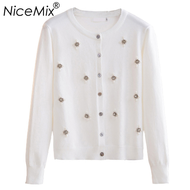 NiceMix 2019 Winter Elegant Crystal Pearl Beading Cardigan Women Slim Knitted Cardigans Female Casual Autumn Sweaters Coat