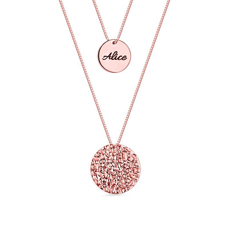 AILIN personnalisé disque nom pendentif de 2 couches pour les femmes Rose or couleur initiale collier pour présent