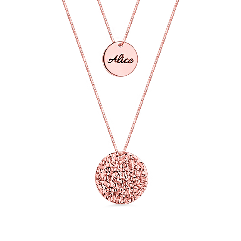 Personalized Disc Name Pendant of 2 Layered For Women Rose Gold Color Initial Necklace For Present stylish chic faux pearl layered necklace for women